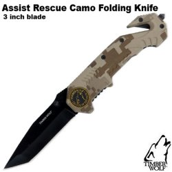 Timber Wolf Assist Rescue Camo Folding Knife