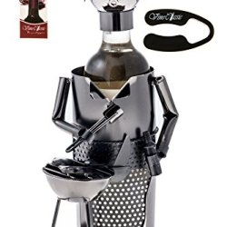 Fabulous Chef While Grilling Wine Bottle Holder Genuine Hand Made Great Gift For The Great Chef Plus A Wine Foil Cutter And A Wine Bottle Stopper