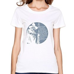 Wei-Jr Girls Hobbit Gandalf Grey T Shirts Size Xs White