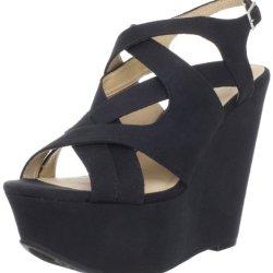 Kelsi Dagger Women'S Nadeen Wedge Sandal, Black Suede, 6 M Us