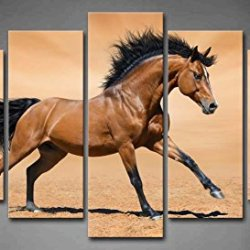5 Panel Wall Art Brown Galloping Bay Horse On Gold Background Painting The Picture Print On Canvas Animal Pictures For Home Decor Decoration Gift Piece (Stretched By Wooden Frame,Ready To Hang)