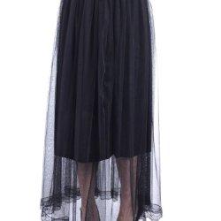 Anna-Kaci S/M Fit Knife Pleat Scallop Lace Trim Hem Sheer Overlay Skirt