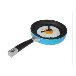Innovation Wall Decor Egg Frying Kitchen Fork Knife Pan Pan Clock (Blue)