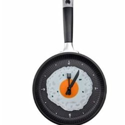 Funny Frying Pan Design Wall Clock With Omelette Face For Home Restaurant And Bar
