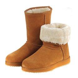 Kameiqi Women Classic Ankle Short Fluff Variable Wear Warm Snow Boots (7 B(M)Us,Chestnut)