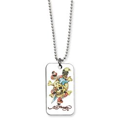 Skull/Dagger Painted Dog Tag 24In Necklace By Ed Hardy Jewelry