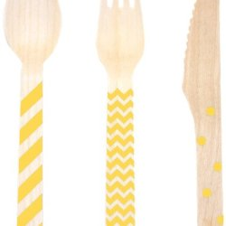 Dress My Cupcake Stamped Wooden Cutlery Set, Chevron/Striped/Polka Dot, Yellow, 18-Pack
