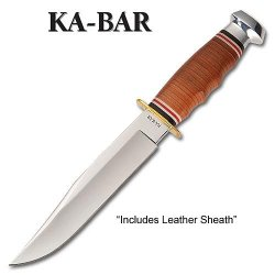 Ka-Bar 2-1236-9 Bowie, Stacked Leather Handle, Leather Sheath