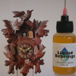 """Liquid Bearings With Extra-Long 3 """" Needle Tip, The Superior 100%-Synthetic Oil For Cuckoo Clocks Or Any Clocks, Frees Sticky Or Rusty Mechanisms, Never Becomes Gummy, The Best For Clocks Of All Types!"""
