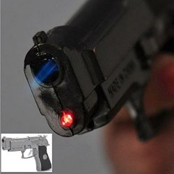 Random Colors Free Shipping Cool Gun Pistol Style Zinc Alloy Windproof Butane Jet Torch Lighter W/ Red Laser + 1 × Cute Gift