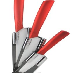 Melange 4-Piece Ceramic Knife Set With Metallic Red Handle And White Blade, Includes 6-Inch Chef'S Knife, 5-Inch Santoku Knife, 4-Inch Utility Knife And Acrylic Holder