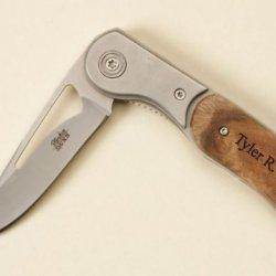 "Personalized Pocket Knife - 2 3/4"" Blade Burl Handle"