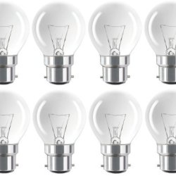Eveready 8 X Classic Mini Globes 40W, Bc B22 B22D, Clear Round Light Bulbs, Bayonet Cap, Golf Ball Incandescent Dimmable P45 Lamps, Mains 230V-240V - [Eu Specification: 220-240V]