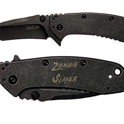 Zombie Slayer Txt Engraved Kershaw Cryo Ii Tanto Blackwash 1556Tbw Folding Speedsafe Pocket Knife By Ndz Performance