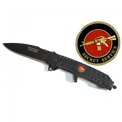 "New 8"" Black Folding Spring Assisted Knife Belt Clip"