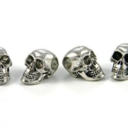 10 - Large Antique Silver Metal Skull Beads For 550 Paracord Bracelets, Lanyards, & Other Projects