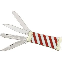 Rough Rider Knives 1304 Candy Cane Double Take Trapper Pocket Knife With White Pearl & Red Delrin Striped Handles