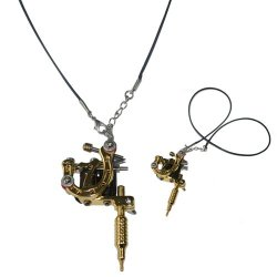 New Product Mini Golden Tattoo Machine Pendant Toy With Chain