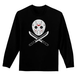 Scary Mask With Machete - Halloween Adult Long Sleeve Dark T-Shirt - Black - Medium