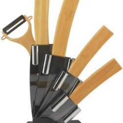 Melange 6-Piece Ceramic Knife Set With Peeler, Bamboo Handle And Black Blade