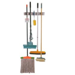 Housweety Wall Organizer -Plastic Mop, Broom, And Long-Handled Tool Or Sports Equipment Holder System-Mount On The Wall In Your Home'S Kitchen Or Garage ,Great Storage Idea For Staying Organized (1)