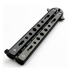 Biaaa 1Pc Stainless Steel Dull Blade Practice Balisong Butterfly Trainer Knife (Black)