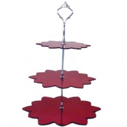 Three Tier Red Mirror Flower Cake Stands - Large + Silver Handle