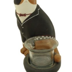 Fat Chef Cat Waiter Statue Kitchen Figure Tea Light Votive D64405