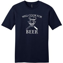 Will Cook For Beer Young Mens T-Shirt Xl Navy