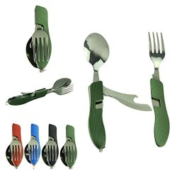 Voberry® 2Pcs/Pack Portable Foldable Multi-Functional Collapsible Stainless Steel Tableware, Knife , Fork , Spoon , Bottle Opener Great For Camping, Hiking,Outdoor Activities (Armygreen)