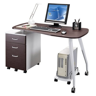 Picture of Comfortable Mad Tech 30x23.5x51.5 Chocolate& Wht Mdf Panel & Steel Frame Computer Office Desk Table (B004W0MJ1M) (Computer Desks)