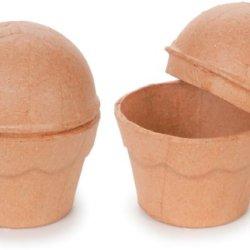 """Paper Mache Cupcake Box-3""""X3.5"""""""
