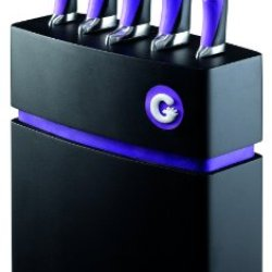 Richardson Sheffield 5-Piece Gripi Knife Set With Wooden Block, Purple