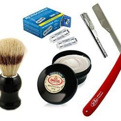 Personna Shaving Set For Wet Shave Barber Razor Knife With 100 Double Edge Blades Omega Shaving Brush And Cream