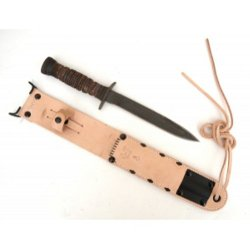 New Wwii M3 Trench Knife With M6 Leather Scabbard - Wonderful Reproduction!