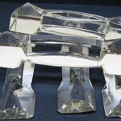 Set Of 6 Antique Brilliant Crystal Cut Glass Vintage Knife Rests Table Setting