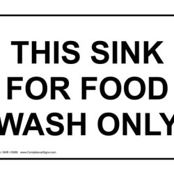 Compliancesigns Plastic Food Prep / Kitchen Safety Sign, 7 X 5 In. With English Text, White