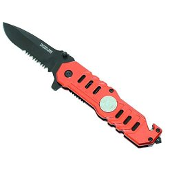 "New Red 7 1/2"" Mini Folding Spring Assisted Knife With Clip"