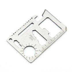 11 In 1 Outdoor Multi-Function Mini Emergency Credit Card Sized Stainless Steel Survival Tool