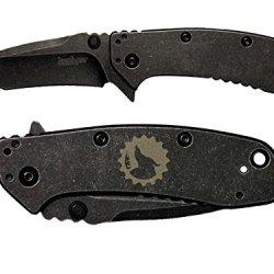 Gear Lone Wolf Moon Logo Engraved Kershaw Cryo Ii Tanto Blackwash 1556Tbw Folding Speedsafe Pocket Knife By Ndz Performance