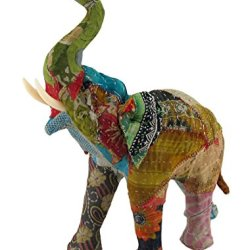 Vintage Sari Fabric Covered Paper Mache Elephant Sculpture 13 In.