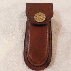 "Brown 5"" Leather Knife Sheath. Decorative 12 Gauge Shotgun Shell Snap - Case."