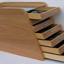 Knife Display Case Storage Cabinet W/ Drawers, Natural Finish