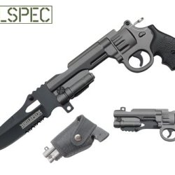 9 Inch Spring Assisted Revolver Gun Pocket Knife With Safety Lock And Comes With Sheath (Grey) Yc-S-10127-Gy