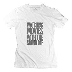 Women Watching Movies Sound T Shirt - Cool Custom White Tshirt