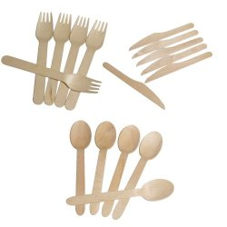 Assorted Wooden Utensils Forks Spoons Knives | 150Ct.