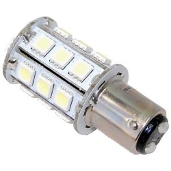 Hqrp Ba15D Bayonet Base 24Leds Dual Contact Smd Led Marine Boat Bulb For 1154 2057 2357 2397 3497 1016 1034 7528 Replacement Warm White 10-30V Dc Light Plus Hqrp Uv Meter