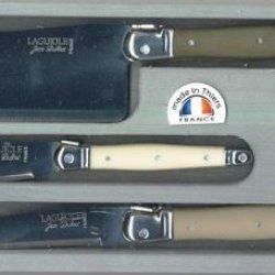 Jean Dubost Laguiole 3-Piece Cheese Knife Set, Linen