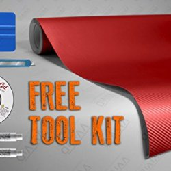 Red 3D Carbon Fiber 5Ft X 6Ft Vvivid8 Vinyl Wrap Roll With Air Release Technology With Free Tool Set Kit Included