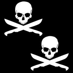 "Auto Vynamics - Zjrs-Machetes-6-Gwhi - Gloss White Vinyl Zombie ""Jolly Roger"" Skull Decal - Crossed Machetes Design - Matching Pair - (2) Piece Kit - 6-By-5.375-Inches"